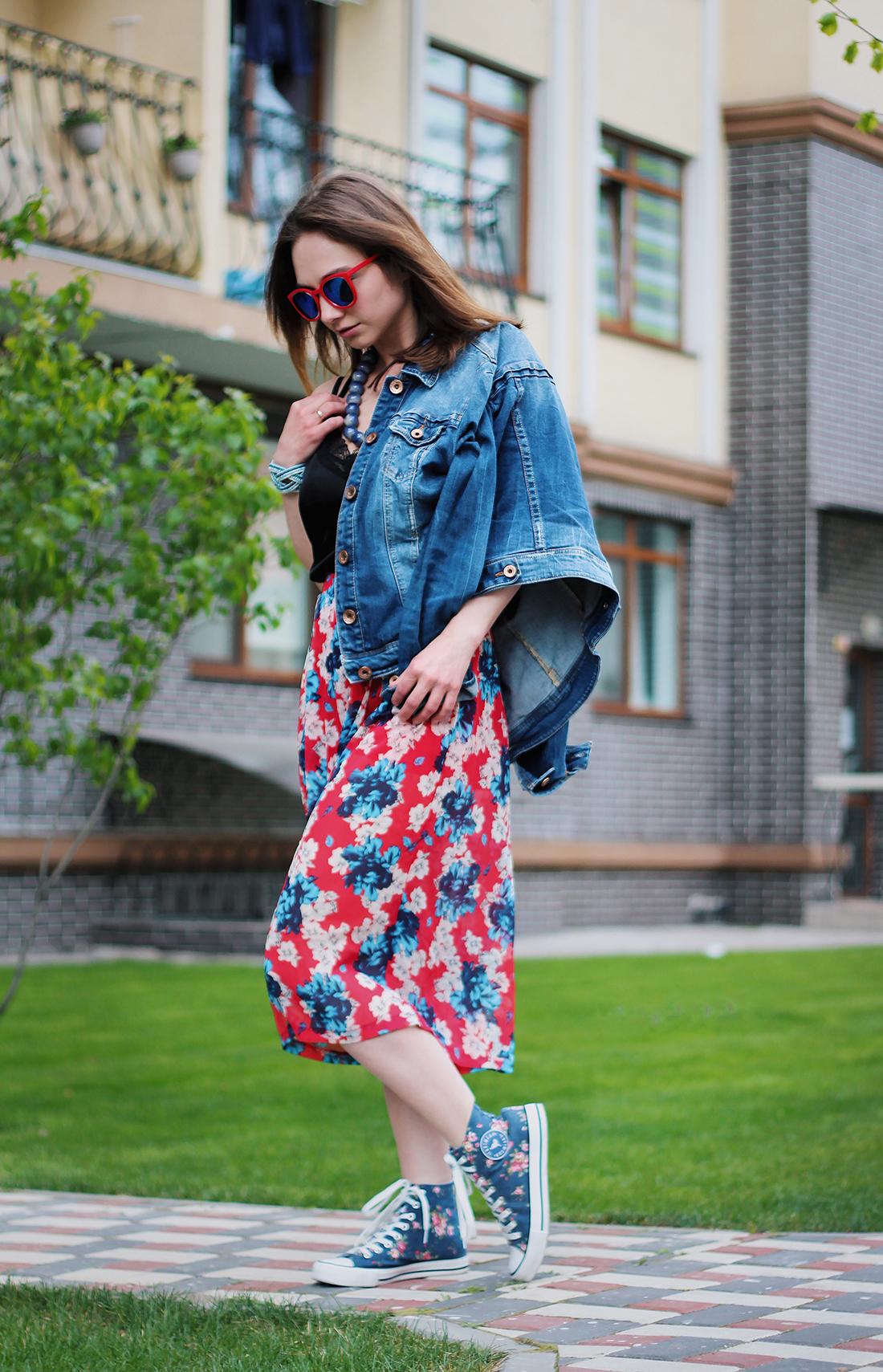 Как носить кюлоты. цветочный принт в луке