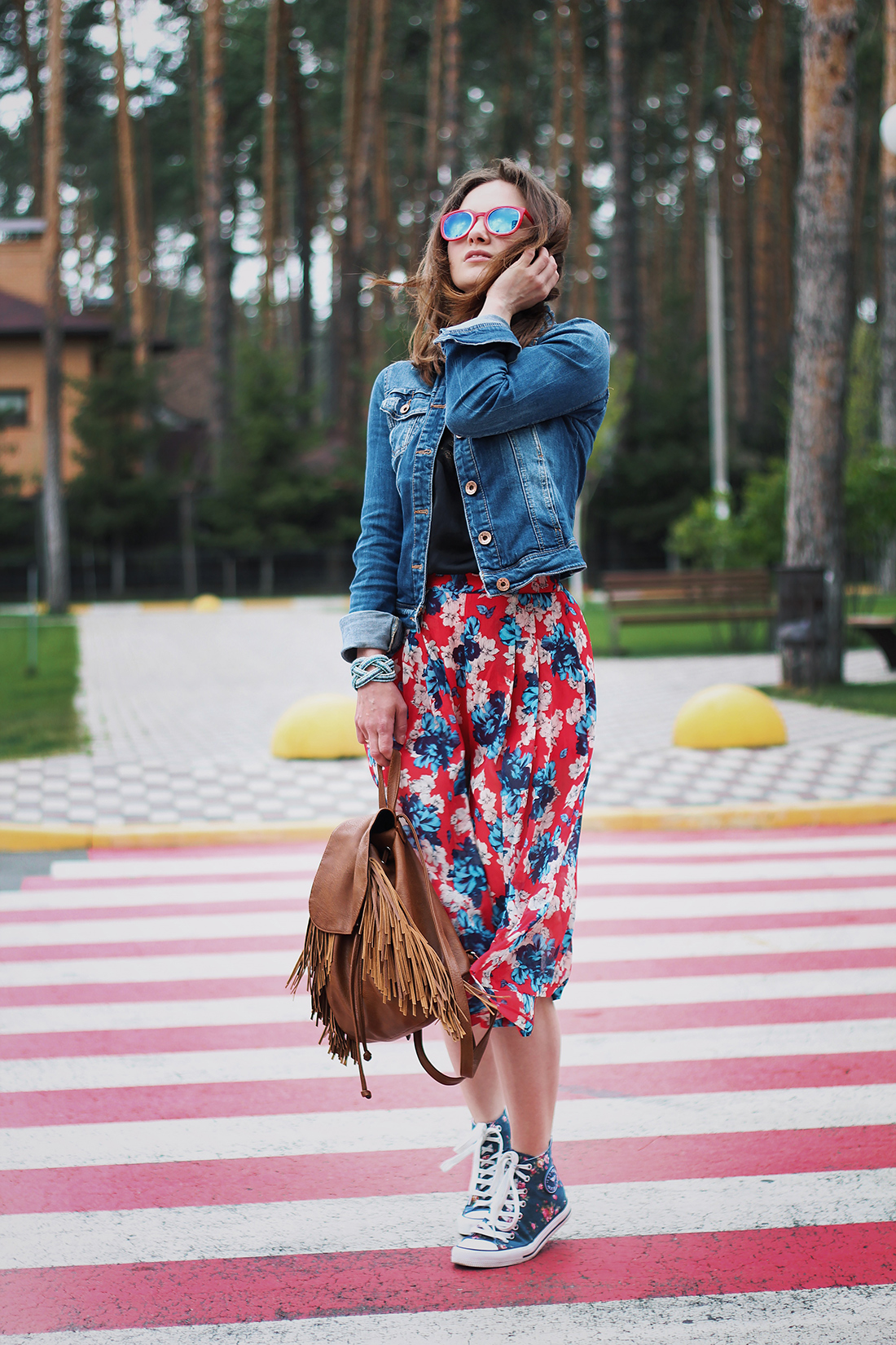 Culottes: flowers in red